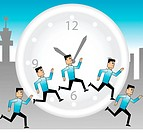 Illustration of businessmen running round the clock