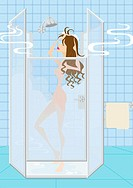Woman bathing under steamy shower