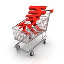 Shopping cart filled with Indian rupee symbols