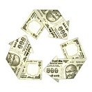 Indian five hundred rupee notes in form of recycling symbol