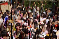 Bogenschießen Wettbewerb in Kyoto, Japan on Seijin no Hi Feiertag in Japan / Coming of age day archery competition at Sanjusangendo Temple in Kyoto, J...