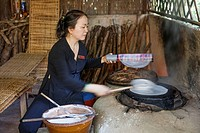 Vietnam, Ho Chi Minh City, Cu Chi Tunnels, Demonstration of Rice Paper Making