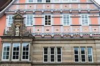 Close up of the historic Dempter House in Hamelin on the German Fairy Tale Route, Lower Saxony, Germany, Europe