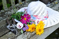 SUN HAT AND CUT FLOWERS