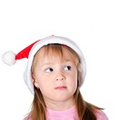 The little Christmas girl isolated on white background