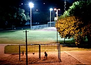 Night time playground scene, Dallas, Texas