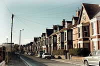 Typical semi-detached houses in Penny Lane, Liverpool, UK