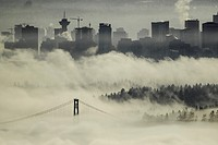 Lions Gate bridge view from Cypress mountain lookout  In the fog  Vancouers Highrises in the background
