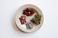 Various tea-leaved on plate