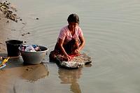 Screen of Scene Women Doing Laundry at Ayeyarwady Irrawaddy River, Bagan, Myanmar, Burma