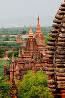 Bagan, temples, general aerial view of pagoda in Bagan, Myanmar, Burma