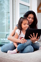 Mother and Daugther with Digital Tablet