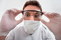 Dentist adjusting eyewear