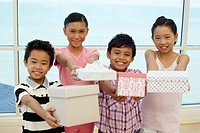 Children with gift boxes