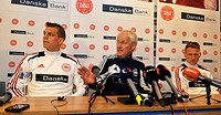 Coach of the Danmark national soccer team Morten Olsen (centre) and players Daniel Agger (left) and Niki Zimling are seen during the press conference ...