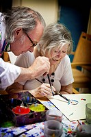 Reportage on art therapy in the Emilie de Rodat retirement home in Rueil Malmaison, France. This retirement home houses people suffering from Alzheime...