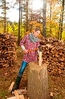 Woman chopping and splitting wood