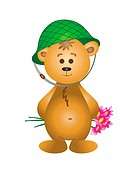 Teddy-bear in a helmet with a bouquet