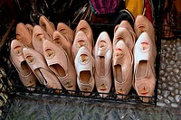 Moorish slipper in a shop in the street of the tearooms  Typical footwear in north Africa Granada  Spain