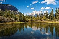 Quiet lake and Colin Range in the Jasper National Park, Alberta, Canada