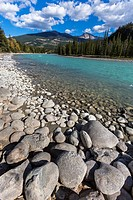 Athabasca River and mountain range in the background, Jasper National Park, Alberta, Canada
