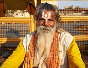 A Sadhu ascetic wandering monk  Orchha, Madhya Pradesh, India