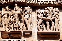 Erotic carvings at Lakshmana temple  Khajuraho, Madhya Pradesh, India