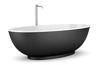 modern black bathtub isolated on white background