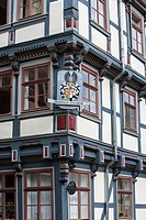 Close up of a beautiful timbered house in Hannoversch Muenden on the German Fairy Tale Route, Lower Saxony, Germany, Europe
