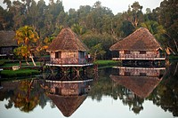 morning mood at Villa Guama, small Hotel designed to resemble an Indian Village on stilts in the water near Boca de Guama, Peninsula de Zapata, Matanz...