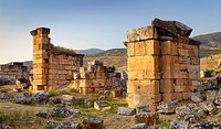 Turkey - Hierapolis, ruins of the ancient city, the church with pillars 6th century AD, Unesco