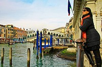 The Rialto Quarter on Grand Canal Venice Italy.