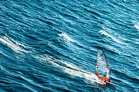 France, a windsurf in the sea in fron of Toulon