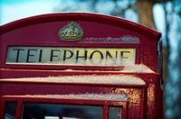 foreground of a tipical english Telephone box in London, England, UK