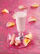 Rose water and strawberry milk shake