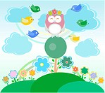 Background with owl, birds, flowers, clouds and trees