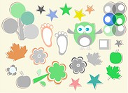 set of nature element for design - owls, legs, flowers, stars, trees