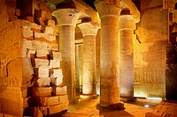 Egypt - Kom Ombo, columns inside the Temple of Sobek, a Crocodile Temple, South Egypt