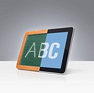 An old slate board becomes a tablet computer in school lessons.
