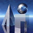 Deep blue sky with crescent moon and a still life of silver chrome-colored cube, pyramid and sphere shapes with altered structure arranged on a reflec...