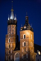 Saint-Mary's church at dusk, Main Market Square, Cracow, Poland