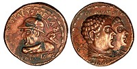 Indo-Greek copper Tetradrachm - Obverse: Eucratides, Reverse: Parents Heliokles and Laodice (copy)