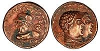 Indo-Greek copper Tetradrachm - Obverse: Eucratides, Reverse: Parents Heliokles and Laodice (copy)