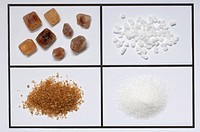 Assortment of sugar: Brown rock candy, sugar crystals,brown sugar and granulated sugar