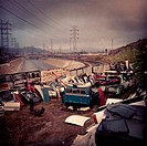 Car doors in junkyard, Los Angeles, California, United States