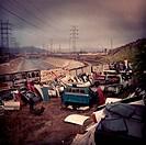 Car doors in junkyard, Los Angeles, California, United States