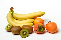 Trocpical fruits, Banana, Kiwi, Kaki / Chinese Gooseberry
