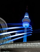 Light art, Neue Messe fair hall, television tower, Tele Michel, Hanseatic City of Hamburg, Germany, Europe