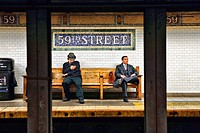 Two Men Seated on a Bench, waiting for a #6 Subway Train, 59th and Lexington Avenue Station, Manhattan, New York City
