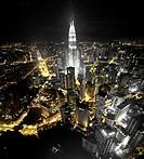 Petronas Twin Towers, from the Menara TV tower, Kuala Lumpur, Malaysia, Southeast Asia, Asia